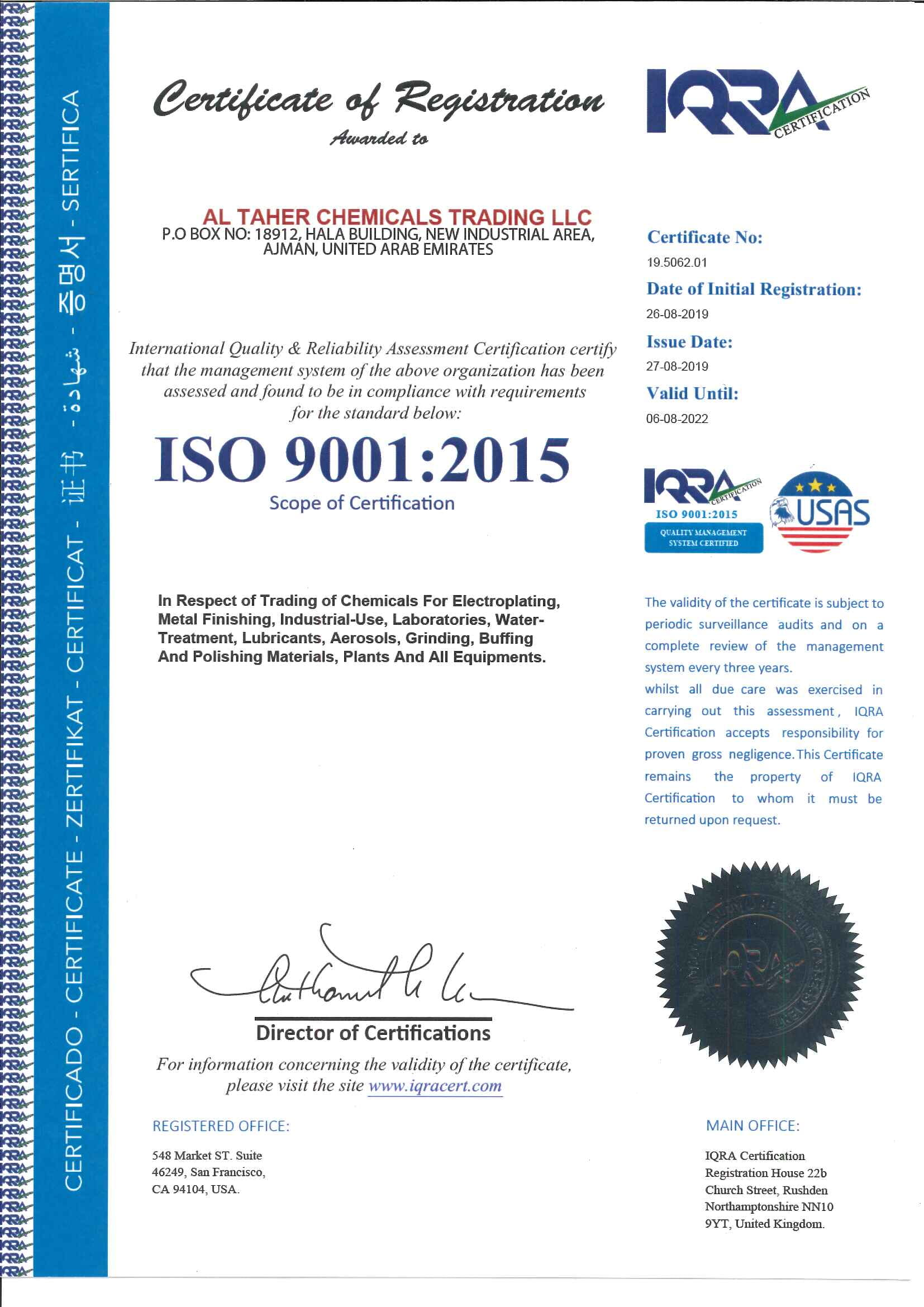 ISO 9001-2015 (Al Taher Chemicals)