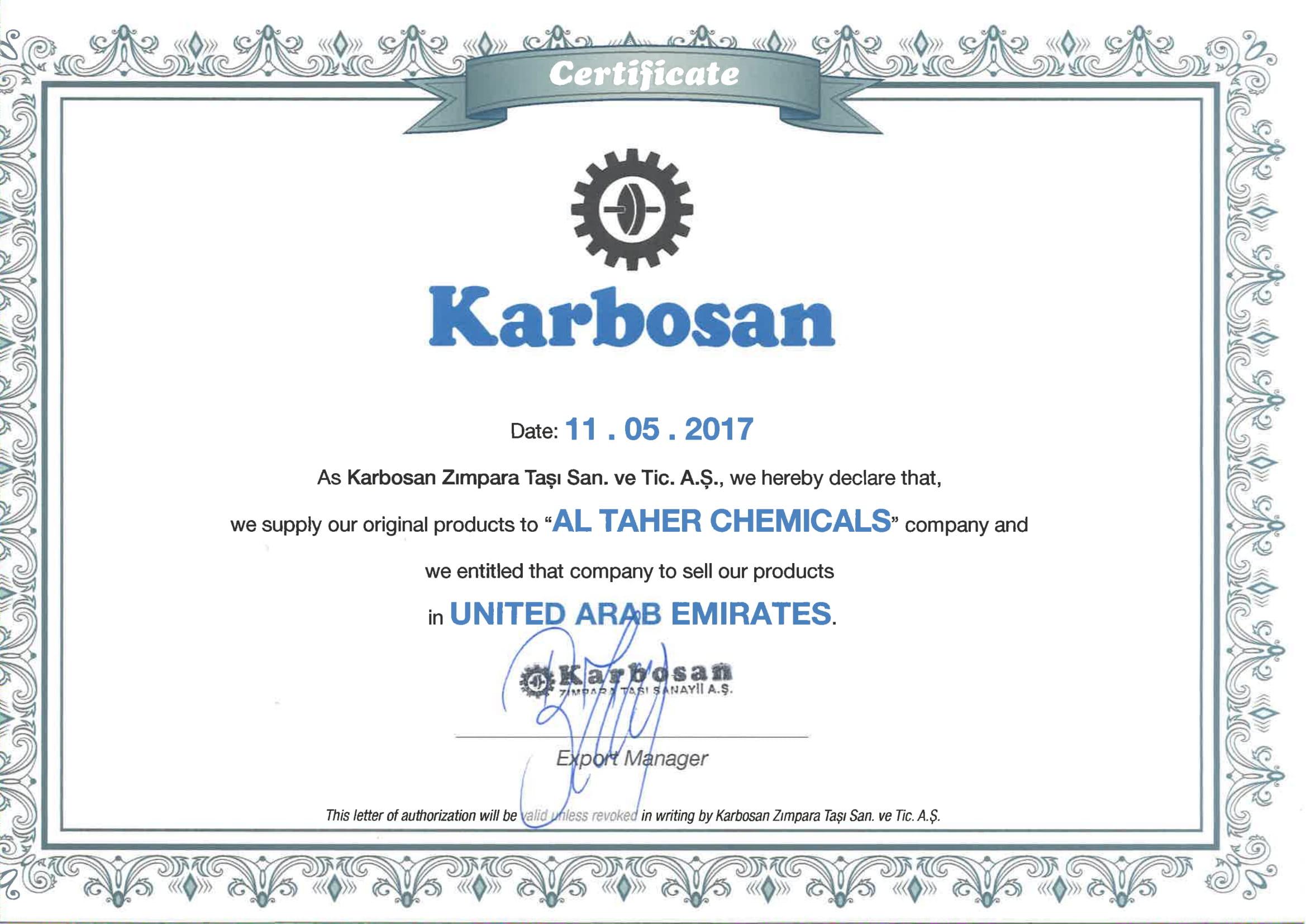 Karbosan Certificate